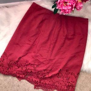 EMME pink laser cut scallop suedelike pencil skirt